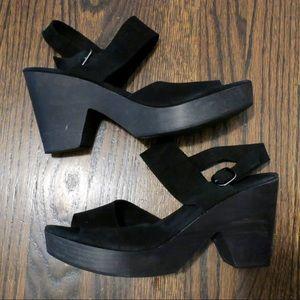 Free people black suede clog sandal